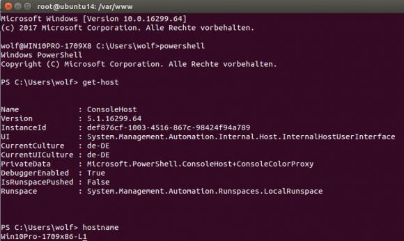 SSH-Verbindung von Ubuntu zu Windows 10 mit anschließendem Aufruf von Windows PowerShell.