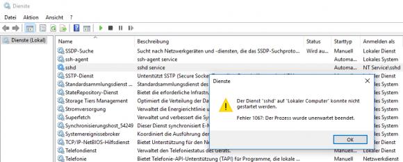 Nach der Aktivierung des OpenSSH Servers als optionales Feature lässt sich der sshd-Dienst nicht starten.