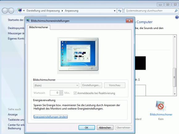 Nach der Konfiguration des Bildschirmschoners über GPO können ihn die Benutzer nicht mehr anpassen.