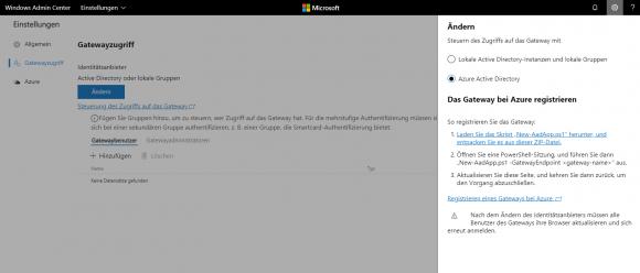 Die Zugriffsrechte auf das Gateway lassen sich auch für Azure-AD-User konfigurieren.