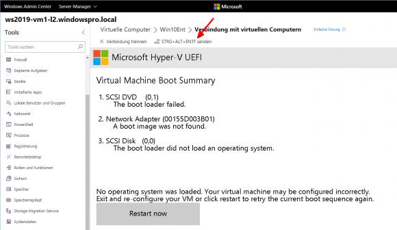 Bis die Verbindung mit der VM hergestellt ist, zeigt diese meist schon einen Boot-Fehler an.