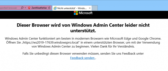 Das Windows Admin Center läuft nicht im IE.