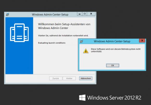 Für die Installation des Admin Center benötigt man mindestens Windows 10 oder Server 2016.