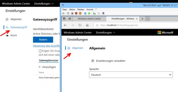 Eine Installation des Admin Center auf Windows 10 verfügt über keine Gateway-Funktion.