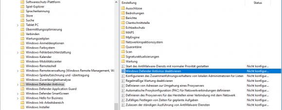 Die mit Windows 10 1703 eingeführte Richtlinie zum Abschalten des Windows Defender.