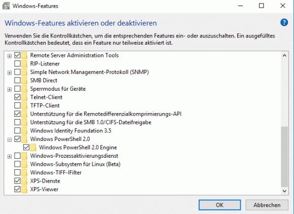 PowerShell 2.0 ist bisher ein optionales Features, das standardmäßig aktiviert wird.