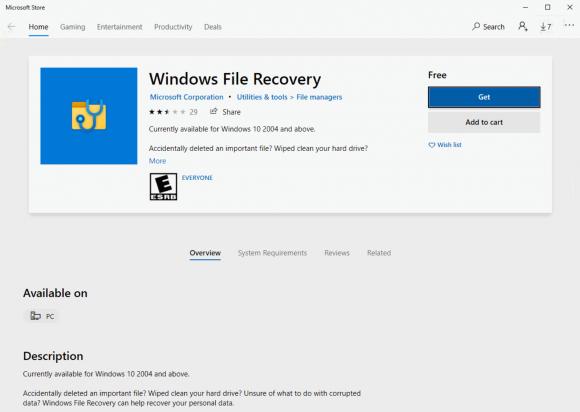 Bereits der Store nennt als Systemvoraussetzung mindestens Windows 10 2004.