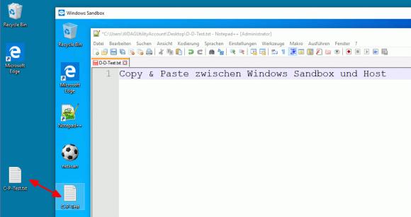 Dateien lassen sich über Copy & Paste zwischen Host und Gast kopieren.