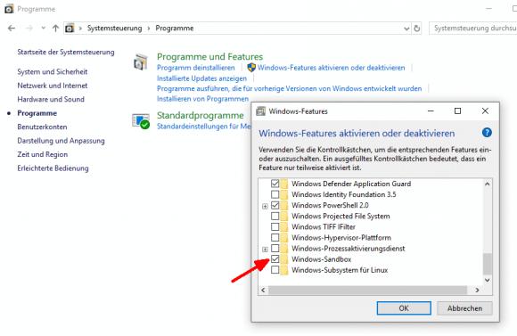 Die Sandbox wird als optionales Windows-Feature über die Systemsteuerung hinzugefügt.