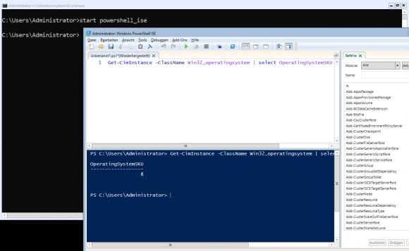 Die Core App Compatibility unterstützt auch die Ausführung von PowerShell ISE