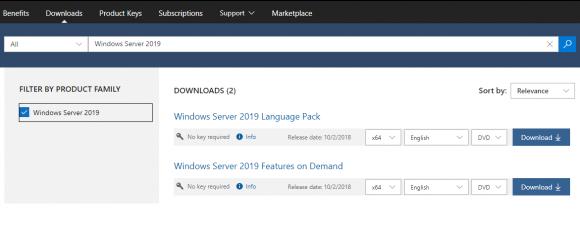 Aktuell steht auch Windows Server 2019 nicht für den Download zur Verfügung.
