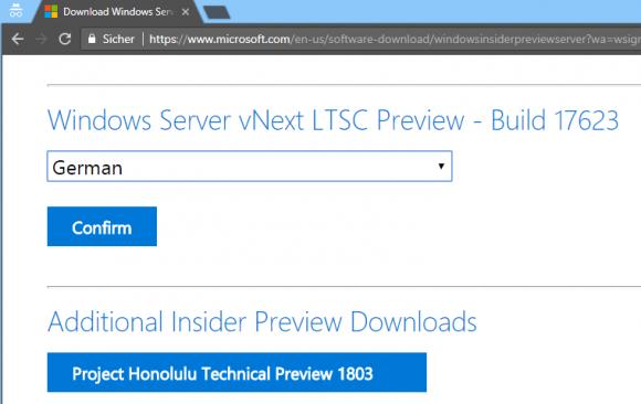 Download der Preview von Windows Server 2019