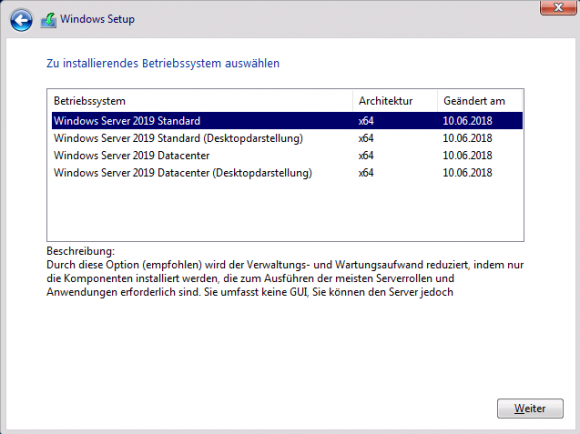 Die Entscheidung zwischen Core und Desktop-Darstellung ist endgültig.