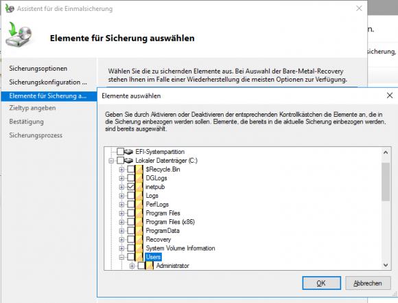 Die Windows Server Sicherung kann Backups von ganzen Laufwerken oder einzelnen Verzeichnissen erstellen.