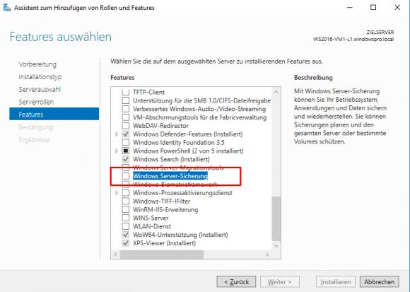 Installation der Windows Server Sicherung über den Server Manager