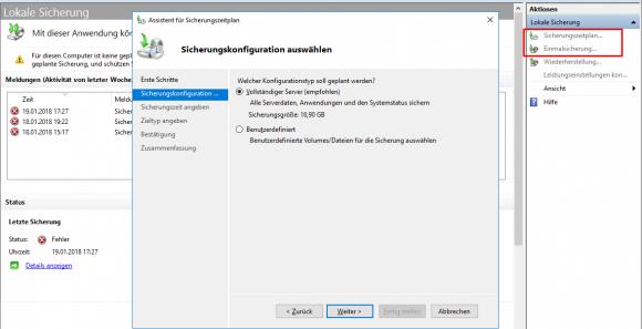 Auswahl zwischen dem Backup des gesamten Servers und einzelnen Volumes bzw. Verzeichnissen.