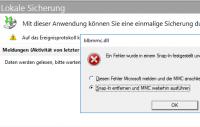 Absturz des MMC-Snap-Ins für die Windows Server Sicherung