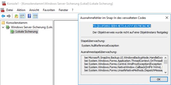 Absturz des MMC-Snap-Ins beim Zugriff auf einen Server, auf dem noch kein Backup gelaufen ist.