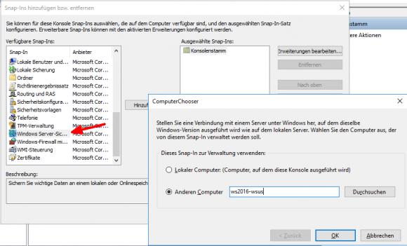 Snap-in für die Windows Server Sicherung in der MMC hinzufügen.