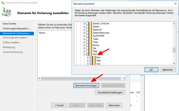 Auswahl des Verzeichnisses, in dem sich die WSUS-Datenbank befindet.