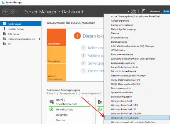 Das Backup-Programm im Tools-Menü des Server Managers
