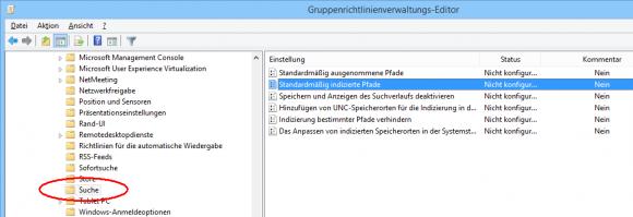 Die Verzeichnisse für die Indizierung durch die Windows-Suche lassen sich auch über GPOs festlegen.