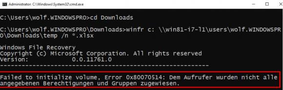 Einem Standardbenutzer fehlen die Rechte zum Wiederherstellen einer Datei.