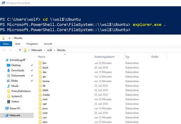 Dateien in den Linux-Verzeichnissen lassen sich ab Windows 10 1903 im Explorer anzeigen.