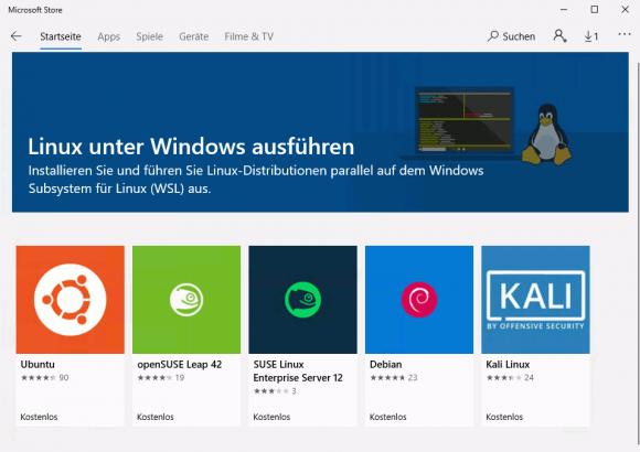 Verfügbare Linux-Distributionen für WSL im Microsoft Store