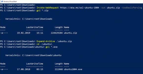Ubuntu 18.04 für WSL herunterladen und entpacken in PowerShell