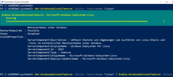 Windows Subsystem for Linux mit Enable-WindowsOptionalFeature aktivieren