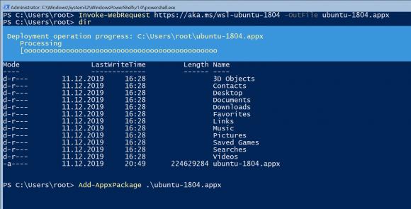 Ubuntu 18.04 als Distribution für WSL mittels Add-AppxPackage installieren