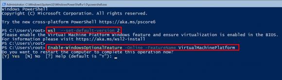 Virtualisierungsfunktionen für WSL 2 über die Kommandozeile aktivieren