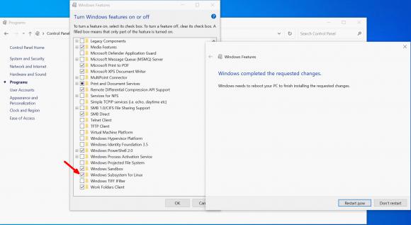 Subsystem für Linux über die Systemsteuerung als optionales Feature aktivieren.
