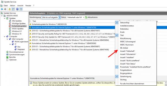Durch Einfügen zusätzlicher Spalten kann man Updates nach weiteren Kriterien sortieren, etwa nach Datum.