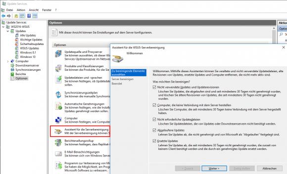 Die Optionen zur WSUS-Bereinigung im Wizard des WSUS-Managers