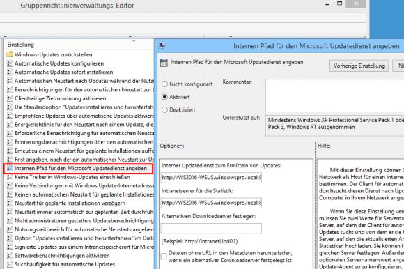 Zuweisung eines WSUS-Servers über Gruppenrichtlinien