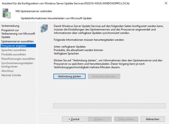 Nach Eingabe der Verbindungsinformationen lädt WSUS die Metadaten für Updates herunter.