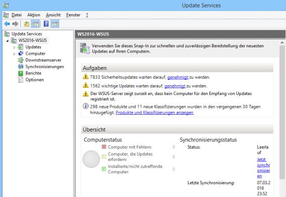 Nach der Installation von WSUS synchronisieren sie zwar schon Updates, liefern diese aber noch an keine Clients aus.