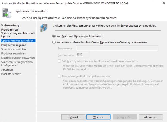 Festlegen des Upstream-Servers, von dem WSUS die Updates beziehen soll. Das kann auch ein anderer WSUS-Server sein.