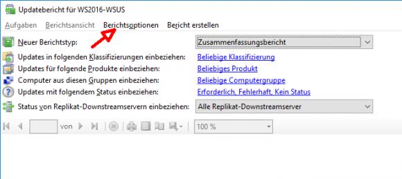 Unter den Berichtsoptionen stehen mehrere Filtermöglichkeiten zur Verfügung.
