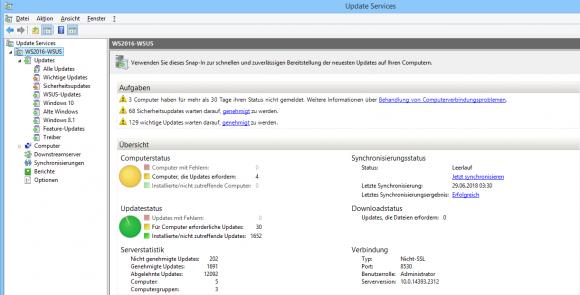 Auch ohne installiertes Reporting-Modul bietet die WSUS-Konsole einen guten Überblick über den Status von Updates und PCs.