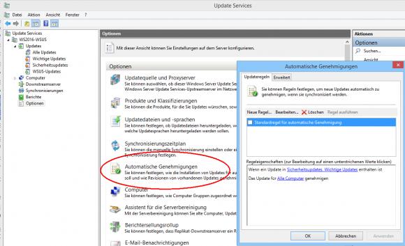 Updates lassen sich anhand von Filterregeln automatisch freigeben.