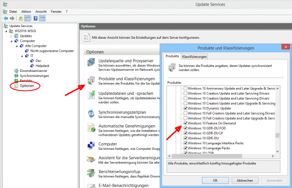 Optionale Features in WSUS abonnieren