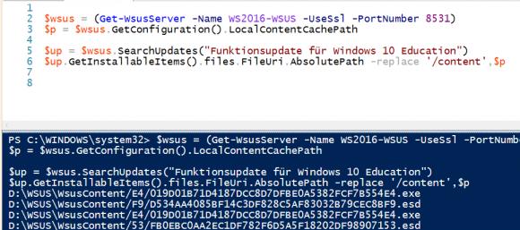 Alle Dateien für Funktions-Updates von Windows 10 anzeigen