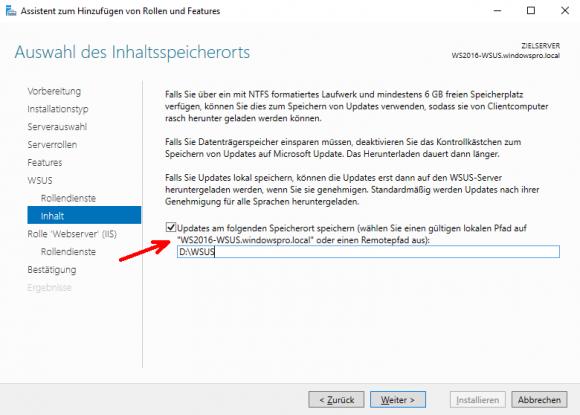 Hier entscheidet man, ob Updates auf dem WSUS-Server zwischengespeichert werden sollen, und wenn ja, wo.