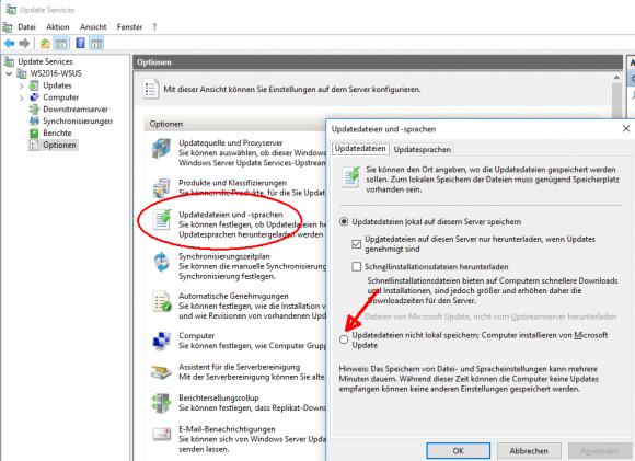 Mit dieser Option kann man auf den Download der Update-Dateien verzichten, die Updates aber weiter über WSUS genehmigen.