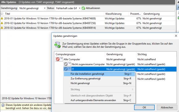 Updates lassen sich für alle Computer oder nur bestimmte Gruppen freigeben.
