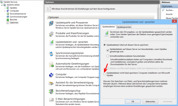 Das Zwischenspeichern der Updates kann in den Optionen von WSUS deaktiviert werden.