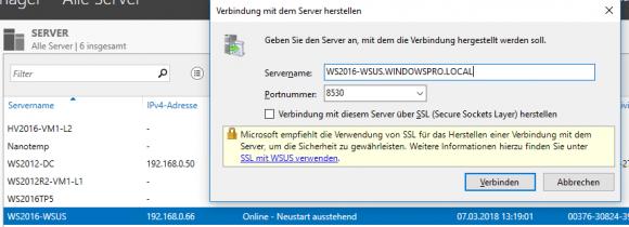 Verbindung mit dem WSUS-Server herstellen